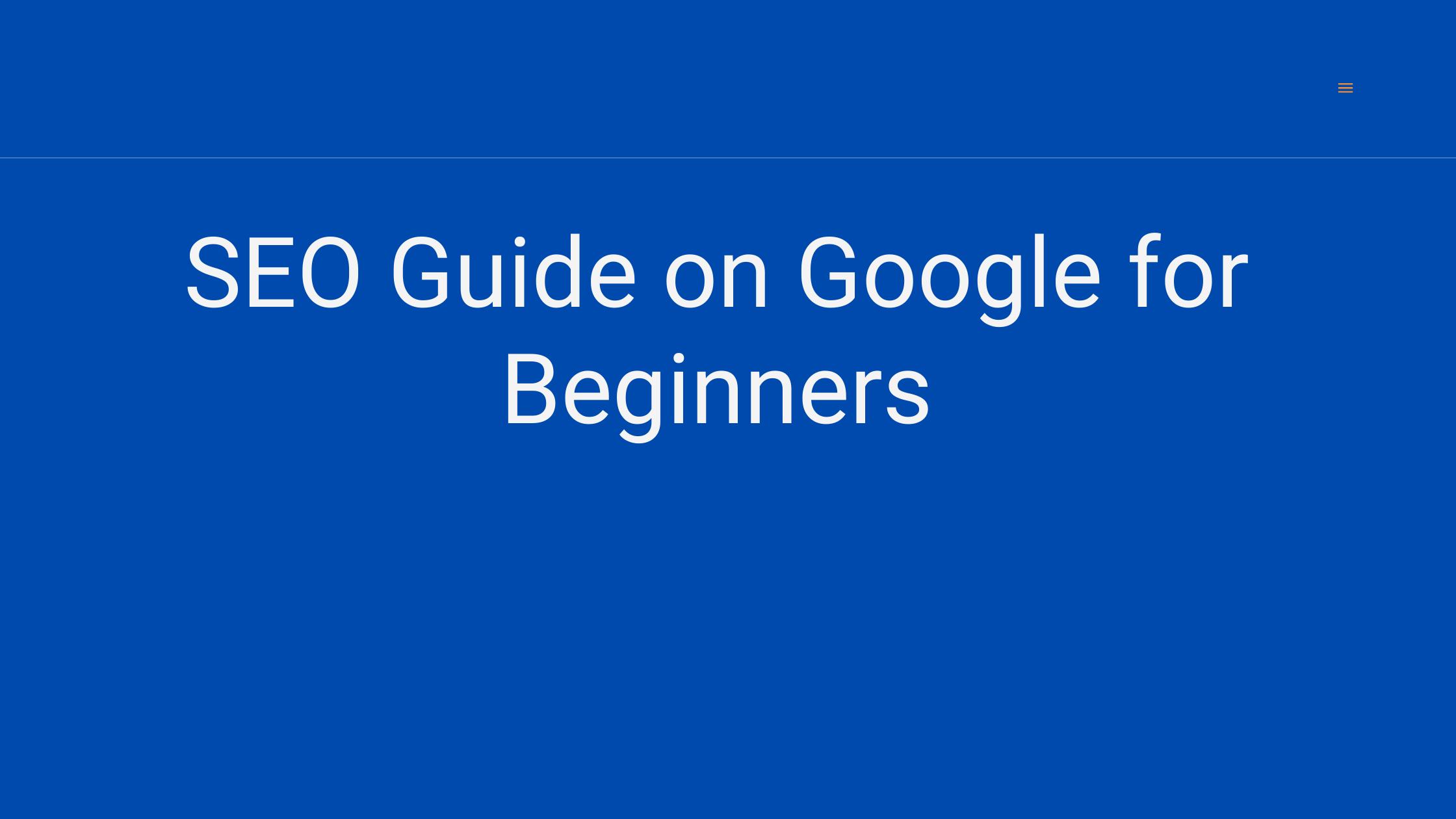 Seo guide on google for beginners